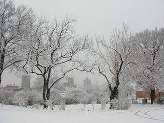 Snowy Memphis skyline
