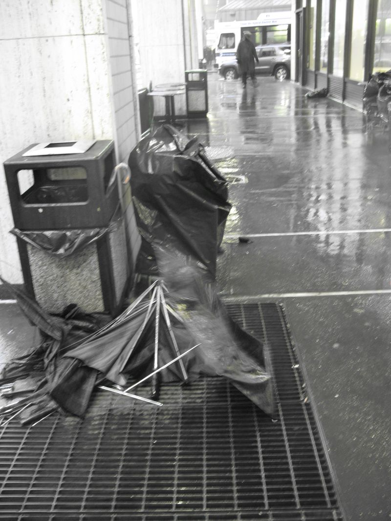 Dead umbrellas in Lincoln Center